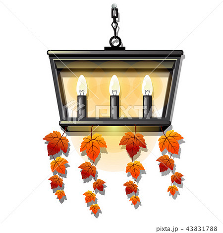 Decorative hanging wall lamp or a sconce with bulbs form of candles with leaves. Element of interior 43831788