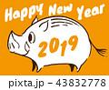 2019年 亥年 年賀状 オレンジ 43832778