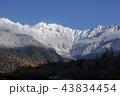 初冬の上高地大正池から初冠雪した北アルプス穂高連峰 43834454