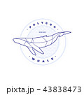 Polygonal Whale Circle Stamb with Waves on White 43838473