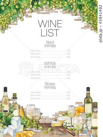 Watercolor glasses of white wine, bottles, white grapes and cheese. 43841492