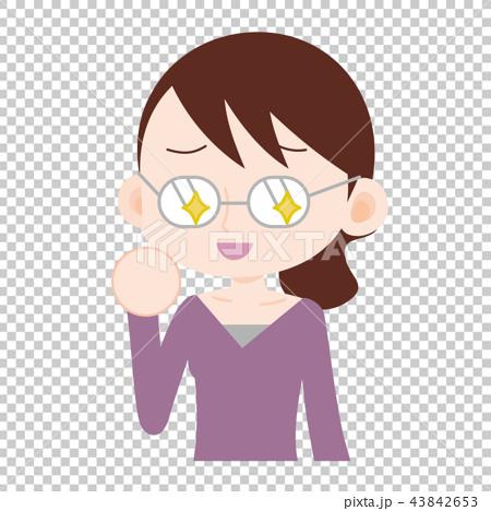 眼鏡が光る女性 企み 裏の顔 43842653