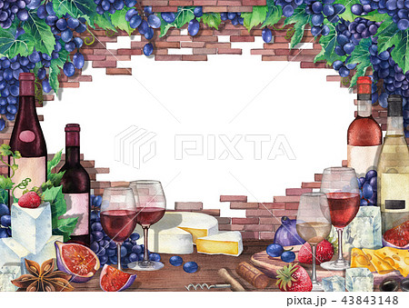 Watercolor wine glasses and bottles decorated with delicious food 43843148