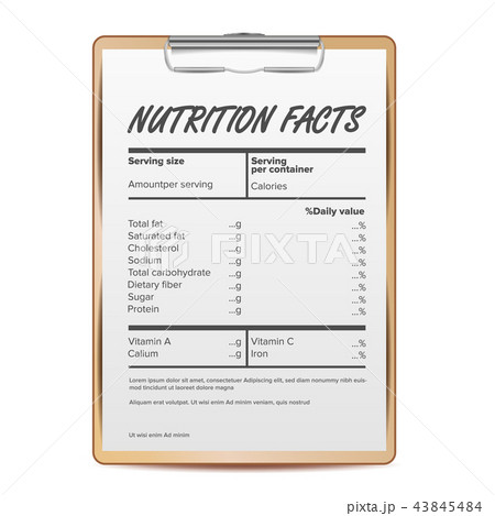 nutrition facts vector blank template food content fat