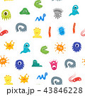 Cartoon Bacteria Characters Seamless Pattern Background. Vector 43846228