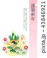 松竹梅 年賀はがき 年賀状のイラスト 43846921