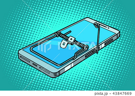 smartphone phone mousetrap. trap and dangers 43847669