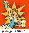 オクトーバーフェスト 昔ながら 女性のイラスト 43847730
