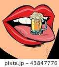 beer mug foam female tongue mouth 43847776