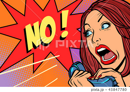 no negation. Woman screams in phone 43847780