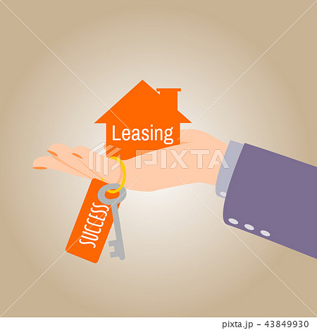 hand giving home keys for purchase loan concept のイラスト素材