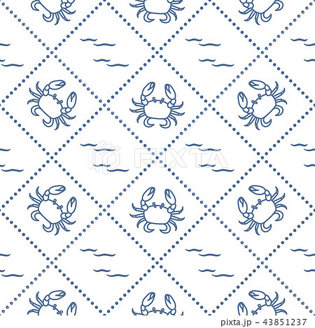 Seamless pattern with crabs and waves 43851237