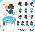 女の子 学生 黒人のイラスト 43851708