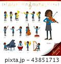 女の子 学生 黒人のイラスト 43851713