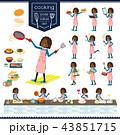 女の子 学生 黒人のイラスト 43851715