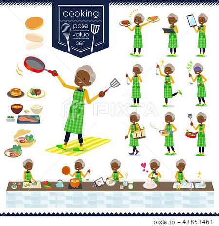flat type cardigan black old women_cooking 43853461