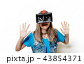 portrait of young teenage girl with VR glasses  43854371