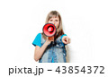 portrait of young teenage girl with megaphone 43854372