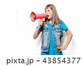 portrait of young teenage girl with megaphone 43854377