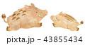 猪 亥 年賀状素材のイラスト 43855434