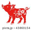 赤色の豚 - 花の装飾, 横向き 43860154