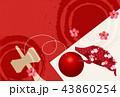 亥 和紙 年賀状 背景  43860254