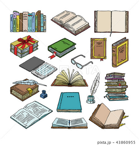 Books vector stack of textbooks and notebooks on bookshelves in library or bookstore illustration 43860955