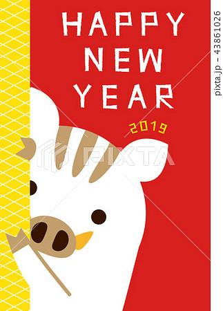 年賀状2019 ひょっこり猪アップ 年賀状 赤のイラスト素材