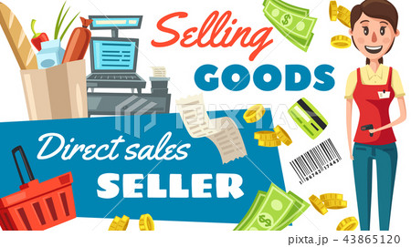 Supermarket seller profession vector poster 43865120