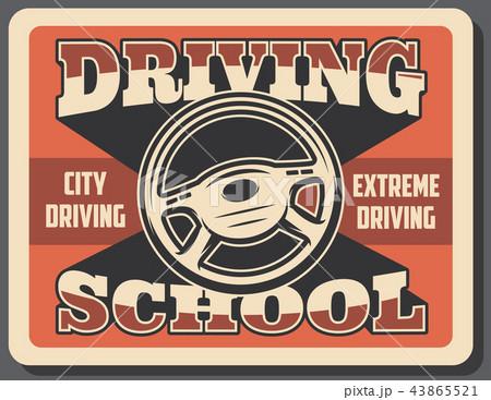 Driving school advertisement retro signboard 43865521