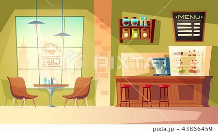 Vector cartoon cafe background, cafeteria interior, furniture 43866459