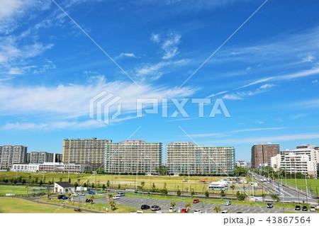 爽やかな秋晴れの青空とマンション街 43867564