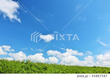 夏の青空と草原 43867587