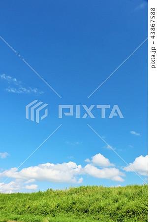 夏の青空と草原 43867588