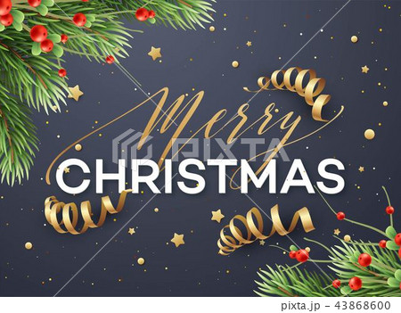 merry christmas greeting card vector templateのイラスト素材