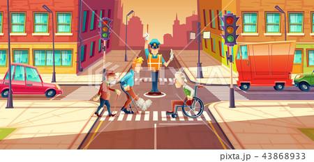 illustration of crossing guard adjusting transport moving, city crossroads with pedestrians 43868933