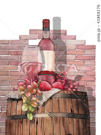 Watercolor glass of rose wine, bottle, strawberries and grapes on the wooden barrel 43869276