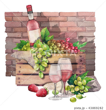 Watercolor box with bottle and grapes with wine glasses in front 43869282