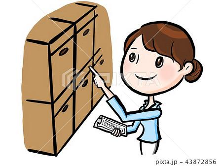 棚卸しする女性のイラスト素材 43872856 Pixta