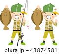 魚釣り 男の子 釣りのイラスト 43874581