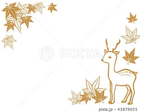鹿のシルエットのフレーム_横 43876055