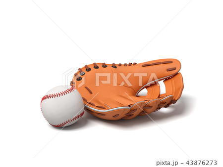 3d rendering of a white baseball with red stitching lying near leather mitt on a white background. 43876273