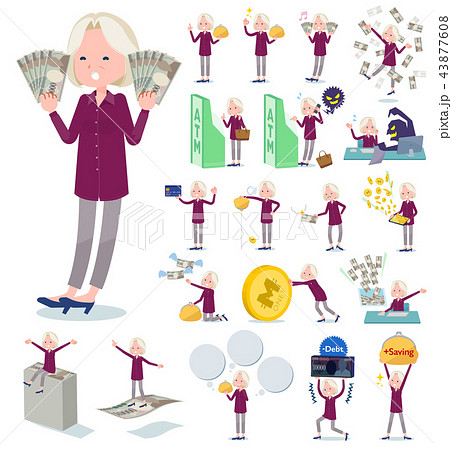 flat type purple shirt old women White_money 43877608