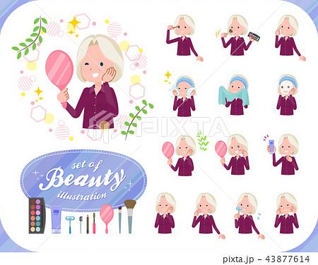 flat type purple shirt old women White_beauty 43877614