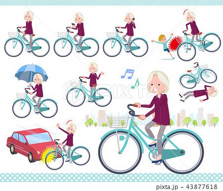 flat type purple shirt old women White_city cycle 43877618