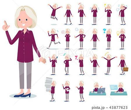 flat type purple shirt old women White_emotion 43877623