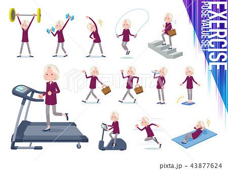 flat type purple shirt old women White_exercise 43877624