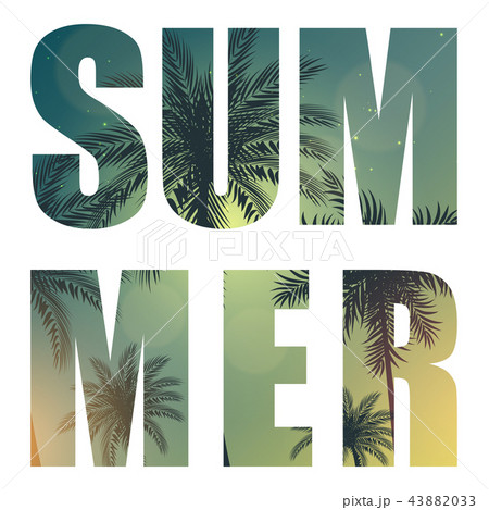 summer word from beautifil palm tree leaf silhouette background