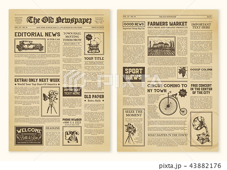 Newspaper Pages In Vintage Design 43882176