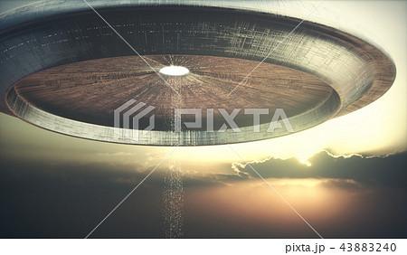 Alien Ship UFO Sunset Sky 43883240